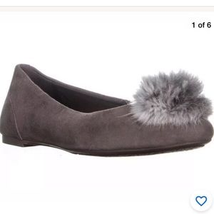 Michael Kors Women's Remi Flats Taupe Fur Pom 9.5